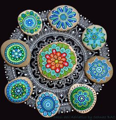 Hand Painted Stone Mandala Flower