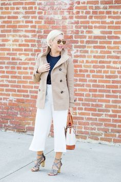 White culottes with tan coat- Life with Lipstick On