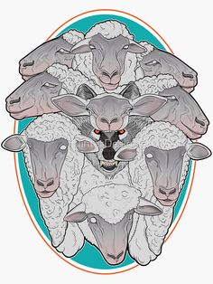 """Wolf in Sheep's Clothing"" Sticker by DinterDesigns Mad Design, Sheep Tattoo, Anime Wolf, Canvas Prints, Art Prints, Horror Art, Surreal Art, Sticker Design, Werewolf"