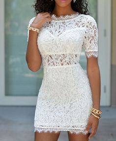 Sexy Round Neck Short Sleeve Bodycon Open Back Lace Dress $14.22