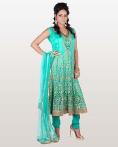 Green Net Anarkali Suit With Golden Motifs on Hem