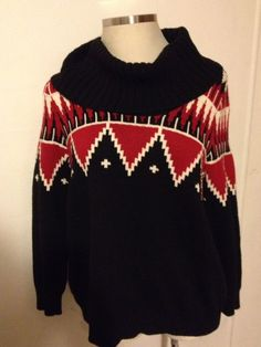 LAUREN RALPH LAUREN Women's Sweater Cowl Neck Fair Isle Nordic Red Black 1X XL #LaurenRalphLauren #CowlNeck #RL #RalphLauren #Sweater #1X #Nordic #FairIsle