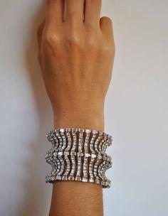 VINTAGE   MASSIVE RHINESTONE bracelet by JBeseda on Etsy,
