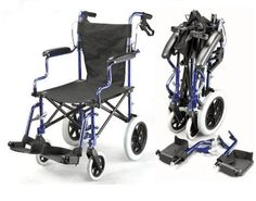 Lightweight Deluxe Folding Transport Travel Wheelchair in a Bag with Handbrakes ECTR04 <3 Click the image to visit the Amazon website