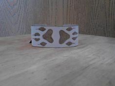 Handmade Off White Burned Wolf Cuff Bracelet  by ElusiveWolf, $26.21