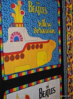 163 Beatles Yellow Submarine Pillow Panels 4 image panel cotton fabric quilt fabric