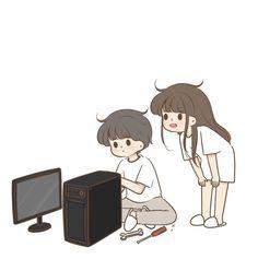 Love Cartoon Couple, Cute Couple Art, Cute Love Images, Cute Love Cartoons, Kawaii, Love Stickers, Cartoon Icons, Cute Cartoon Wallpapers, Cute Anime Couples