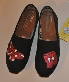 Hand Painted Toms Minnie and Mickey by YirkasBoutique on Etsy, $70.00