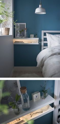 A DIY nightstand made from two MOSSLANDA picture ledges stacked on each other like an open mouth with an LED strip inside