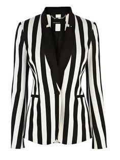 Fashion Black&White Striped Pattern Lapel Cotton Suit Coat