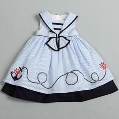 @Overstock - Adorn your little one in adorable style with this nautical-themed dress from Donita. This benevolent dress features a striped pattern design with anchor and helm detailing, sleeveless styling, and a back-zipper entry.http://www.overstock.com/Clothing-Shoes/Donita-Toddler-Girls-Light-Blue-Sailor-Collar-Nautical-Dress/6584884/product.html?CID=214117 $26.99
