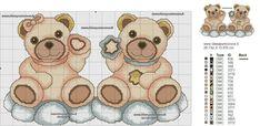 TEDDY THUN SCHEMA PUNTO CROCE Cute Cross Stitch, Cross Stitch Animals, Cross Stitch Patterns, Baby Disney, Cross Stitching, Arts And Crafts, Teddy Bear, Embroidery, Diy And Crafts
