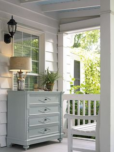 Love painted furniture on the porch - must do this. Thank you for this idea--can use it for my store.