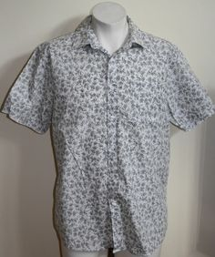 Genuine Jeff Banks Mens Short Slave Shirt Size L Fashion Designer Grey Floral