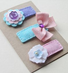 SOFT SERVE. Set of 3 Felt Hair Clips. Made in 100 Pecent Wool. Baby. Girls. Scalloped Hair Clips.