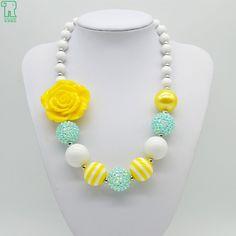 Amarillo princesa Rose Florece el Collar de Niñas Niños Chunky Bubblegum Beads Choker Collares Populares Cabritos Florece el Collar
