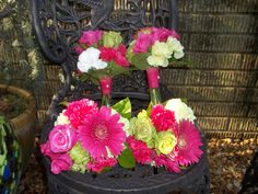 hot pink bridal party flowers Bedazzled Flower Shop in Sharpsburg, GA. Call them at 770.253.2539