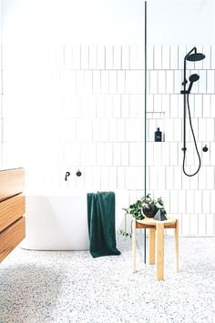 Smart, functional and stylish, this renovated bathroom with terrazzo floor tiles has it all! | Photography: Lauren Bamford | Styling: Kati Bottomley and Esme Parker | Story: Inside Out #bathroom designs