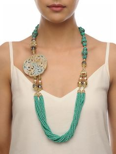 Buy Turquoise Beige Golden Carved Onyx Necklace Crystal Beads Metal Alloy Fashion Jewelry Necklaces/Pendants The Color Wheel Statement beaded necklaces with pendants Online at Jaypore.com
