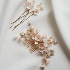 A set of floral hair pieces in the softest shades of gold, champagne and blush tones. The perfect pieces to scatter around a romantic updo. Contact us to pre-order Headpiece Wedding, Wedding Veils, Bridal Headpieces, Bridal Hair, Blush Bridal, Wedding Earrings, Cherry Blossom Wedding, Romantic Updo, Wedding Hair Pieces