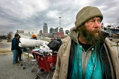 Man is Homeless and lives off of shopping carts and the street