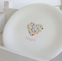 This personalized plate is so simple but so colorful at the same time! This would be fairly simple to recreate using our funwriters for the dots in the ...  sc 1 st  Pinterest & Vintage Disney Beauty And The Beast Heart Plate And Heart Shaped ...