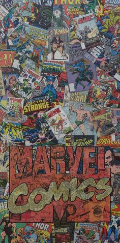 12x24 canvas, collaged image of the Marvel Comics Logo, made with only comics, no ink or paint