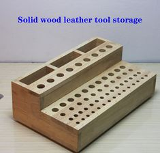 64 Holes Solid Wood Design Stamp Organizer-Leathercrafts Tools Holder-Wooden Box-Stamp Holders-Stamp Stand-Stamping Tools Display by MaterialsByOnlygirl on Etsy Diy Garage Storage, Shop Storage, Storage Boxes, Diy Rangement, Leather Workshop, Leather Craft Tools, Workshop Organization, Stamping Tools, Wood Tools