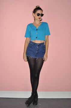 Vintage 80s Blue Button Down Scalloped Cropped by WhiteCityVintage
