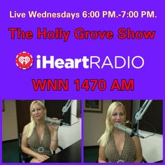 The Holly Grove Show has been upgraded to 1 hour. Holly will air live on Wednesday evenings from  6 PM.-7 PM. Let's get the party started and keep the party going! Topic all parties and events. #TheHollyGroveShow