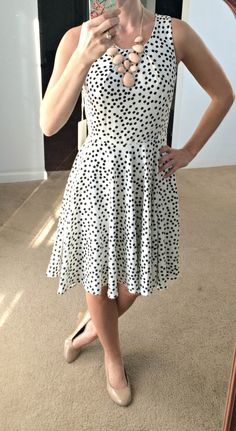 41Hawthorn Sugar Dot Print Dress - I am a fan of the fit and flare style. A great basic piece that can be dressed up or styled down.  I am seeing this with a denim jacket and brown Sam Edelman combat boots