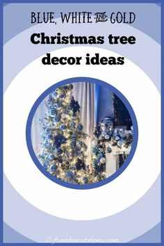 I love this blue, white and gold Christmas tree decor. The garland over the fireplace mantle is beautiful, too. #fromhousetohome #christmastree #christmasdecor #xmas #christmastree #bluechristmasdecor Blue Christmas Decor, White Christmas Ornaments, Christmas Decorations For The Home, Beautiful Christmas Trees, Xmas, Christmas Stuff, Christmas Holiday, Haunted House Decorations, Party