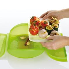Steam Case with Tray 3-4 pers.    I got this on a fluke at a sale, as we love our steamed broccoli... Still learning but it is really really surprisingly versatile for cooking almost anything (and way fast)! Works in the oven or microwave and goes in the dishwasher..    (lekue.us)