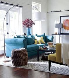 I'm not all for big armed sofas, but I do like the peacock color and the brass nailheads. Tailor Sofa in Sofas Mid Century Living Room, Home Living Room, Living Room Designs, Living Room Decor, Living Spaces, Home Design Decor, Diy Home Decor, Design Ideas, Teal Sofa