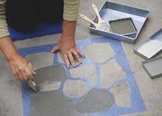 Ideas Stamped Concrete Patio Diy Painted Floors For 2019 Painted Cement Floors, Painting Cement, Concrete Floors, Diy Painting, Concrete Patios, Cement Patio, Concrete Walkway, Paver Walkway, Porch Paint