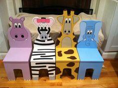 Ichart Kids Four Chair Set - Safari Aminal Theme - Children's Furniture