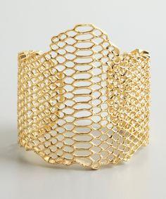 Elizabeth & James gold 'Serpentine' snake cutout large cuff | BLUEFLY up to 70% off designer brands