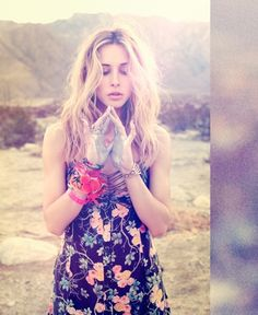 Gillian Zinser Coachella Ready wearing Planet Blue