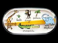 2 Tier Bento Box With Chopsticks And Band Cute Wild Animals In French Yello