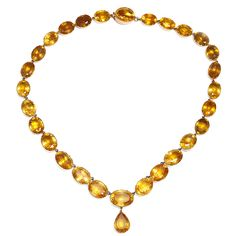 Antique Citrine Collet Necklace. Gold-mounted cushion-cut citrine collet necklace. English, ca. 1800.