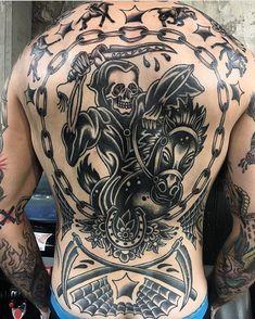Old School Inspiration Back Tats, Back Tattoos For Guys, Lower Back Tattoos, Traditional Back Tattoo, Grim Reaper Tattoo, Back Piece Tattoo, Tattoo Portfolio, Dainty Tattoos, Tattoo Flash Art