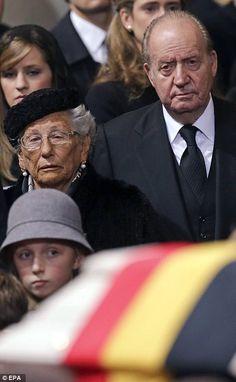 Solemn: Princess Astrid of Norway (left) and former King Juan Carlos of Spain