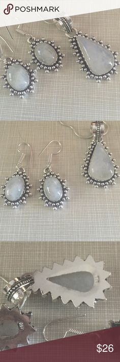 Beautiful moonstone set Very delicate and pretty moonstone inlay stamped 925 pendant is approximately 1'3/4 long and earrings are almost 2' long artisan handcrafted NWOT Jewelry Necklaces