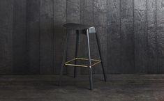 1. Sim-Ply Bar Stool 750 - Plywood Seat - Ash Black