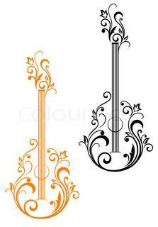 Guitar with floral embellishments