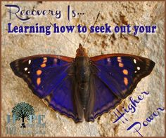 "Recovery is Learning to seek out your ""Higher Power"" Have you found yours? Poster Courtesy of Hope in Recovery through Love, Light & Laughter"