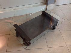 Table repas et tables basses on pinterest solid oak - Table basse metal industriel ...