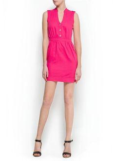 Linen cotton-blend dress