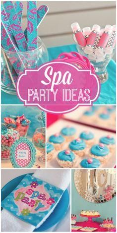 The girls all get together for a pretty blue and pink spa party!