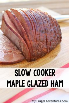 Slow Cooker Maple Glazed Ham Recipe so easy and so delicious! Get a perfect juicy flavorful ham every time! - Ham - Ideas of Ham Crock Pot Slow Cooker, Crock Pot Cooking, Slow Cooker Recipes, Crockpot Recipes, Cooking Recipes, Ham In Crockpot, Crock Pot Ham, Breakfast Crockpot, Cooking Time